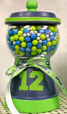 Here is another candy jar project for you! This one is for the Seahawks fans - perfect for the coffee table while you are watching the footb. Seahawks Gear, Seahawks Fans, Seahawks Football, Seattle Seahawks, Clay Pot Crafts, Fun Crafts, Simple Crafts, Football Crafts, Football Decor