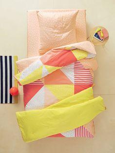 Parure housse de couette + taie d'oreiller enfant COLORPATCH multicolore rose et jaune - Vertbaudet