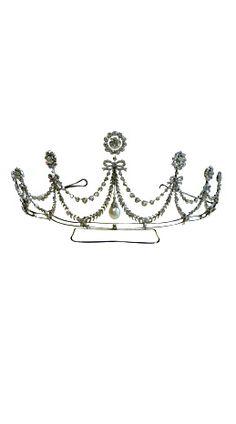 Antique pearl and diamond tiara
