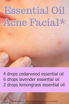 Today we are sharing our acne facial using essential oils. Creating blends with essential oils can help soothe symptoms of skin inflammation and begin helping the imbalance of sebum production which leads to clogged pores.Directions:1. Mix 2 tablespoons of sweet almond oil with the essential oils listed on the image.2. Let the facial soak in for 5 minutes and blot excess with a tissue. #aromatherapy