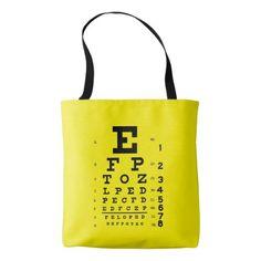 Ophthalmology Pop Art Retro Style Eye Chart Yellow Tote Bag
