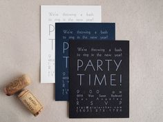 Modern Letterpress Party Invitations - Custom Birthday Bridal Shower Invites - Transatlantic