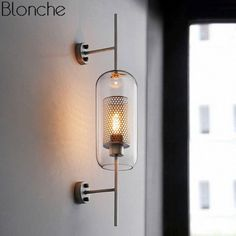 lamp flasher on sale at reasonable prices, buy 2019 NEW Modern retro simple creative bedroom restaurant study lamp loft glass iron wall lamp from mobile site on Aliexpress Now! Bedside Wall Lights, Glass Wall Lights, Led Wall Lamp, Mirror With Lights, Wall Sconce Lighting, Bedside Lighting, Accent Lighting, Bedroom Wall Lights, Led Mirror