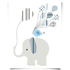 Free Printable Elephant Nursery Art for a little boy nursery or baby shower