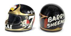 Barry Sheene Motorcycle Racers, Motorcycle Helmets, Arai Helmets, Custom Helmets, Vintage Racing, Motogp, Motorbikes, Biker, Wheels