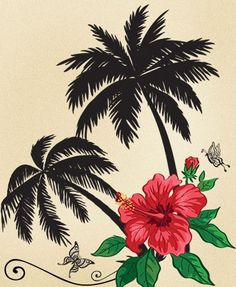 Palm tree and flower tattoo design