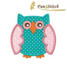 Owl applique machine embroidery design