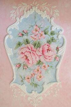 Gorgeously feminine, shabby chic French rococo panel painting. #vintage #shabby #chic #rococo #pink #blue #flowers #home #decor #decorating #art #panel #painting