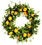 null Brighten up your home with this cheerful wreath. It has bright yellow lemons surrounded by greenery. Made of polystyrene, wire and birch twig. Lemon Wreath, Indoor Outdoor, Outdoor Decor, Outdoor Living, Summer Wreath, Spring Wreaths, Evergreen, 3 D, Home And Garden