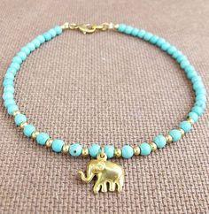 4 mm Turquoise Bead Summer Ankle Bracelet added Elephant Charm on Etsy, $10.00