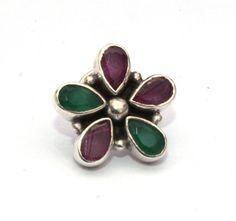 925 Solid Silver Green Onyx & Ruby Studded by gemsnjewelryworld
