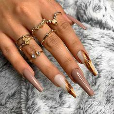 Brown Acrylic Nails, Bling Acrylic Nails, Brown Nails, Best Acrylic Nails, Acrylic Nail Designs, Coffin Nails, Acrylic Art, Brown Nail Designs, Brown Nail Art