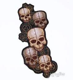 SteamPunk Rivet Skull Stack with Gears Iron On Embroidery Patch MTCoffinz