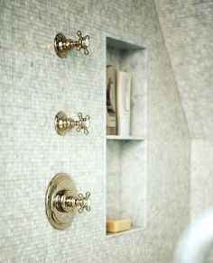 Gorgeous shower with mosaic tile shower surround, polished nickel vintage shower kit and shower niche. Laundry In Bathroom, Bathroom Renos, Bathroom Interior, Master Bathroom, Master Shower, Design Bathroom, Bathroom Ideas, Bad Inspiration, Bathroom Inspiration