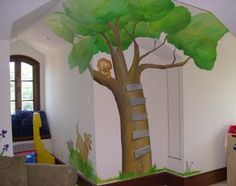 I love this idea of putting little wood slats on the painted tree. I think smaller slats would be even classier.