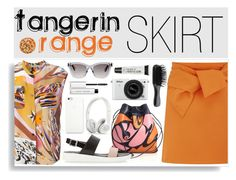 """Tangerin Orange SKIRT"" by katemake ❤ liked on Polyvore"