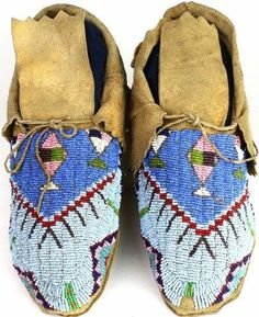 Northern Plains fully beaded moccasins