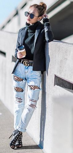 Fishnet under jeans for 'just a peek' of sex appeal.  WorkingLook.com