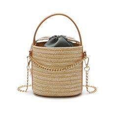 693df100d1e3 2019 Summer Beach women Bag Manual Woven Knitted Straw Shoulder handbags  Designer Casual Tote Shopping Bags Circle bucket 1N2234