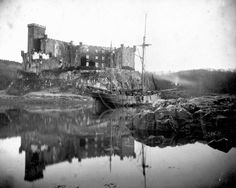 Vintage photo of Dunvegan Castle, Isle of Skye -- Note sailing ship. Old Photos, Vintage Photos, Scottish People, Outer Hebrides, Historical Monuments, Home Photo, Poster Size Prints, Scotland, Scenery