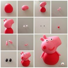 by rae Tutorial Peppa pig. by rae Tortas Peppa Pig, Bolo Da Peppa Pig, Peppa Pig Birthday Cake, Peppa Pig Cakes, Birthday Cupcakes, 2nd Birthday, Pig Cupcakes, Fondant Cupcakes, Fondant Figures