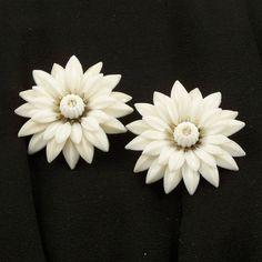 Vintage 1960s Earrings Mad Men White Flower Power by Revvie1, $10.00