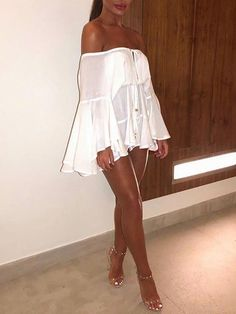 c9be4f802b07 Off Shoulder Flare Sleeve Tied Front White Mini Dress - Boutiquefeel