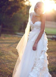 Bohemian Wedding Gown Some Kind of Wonderful by clairelafaye. $3,400.00 USD, via Etsy.