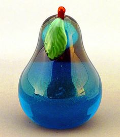 Pear Sapphire Glass Paperweight
