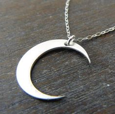 Silver Moon Necklace Brushed Sterling Silver by eriadesignsjewelry, $22.00. size of a dime