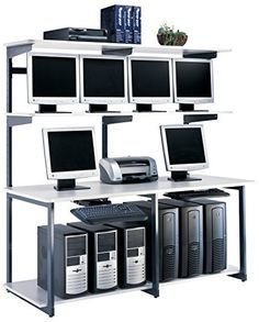 Mayline eLAN Series Lan Station with Ice Gray Laminate and T-mold/Pac,