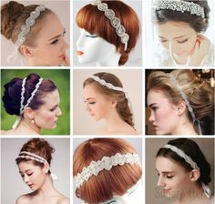 8 Sizes Handmade Crystal Bride Wedding Headband Bride Rhinestone Tiara Hairband