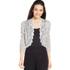 R&M Richards Scalloped Sequin Lace Bolero ($39) ❤ liked on Polyvore featuring outerwear, jackets, silver, lace bolero jacket, lace bolero, sequin bolero, sequin bolero jacket and lace jacket