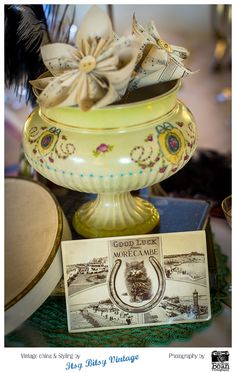 Centrepiece designed for 'Vintage by the Sea' at the Midland Hotel by Itsy Bitsy Vintage.