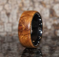 Olive wood & tungsten ring - size 12