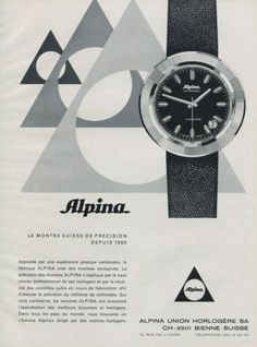 Alpina Watches vintage advertising.