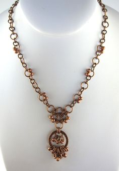 Funky Beaded Chainmaille Antiqued Copper Necklace Set by beadlady5, $35.00