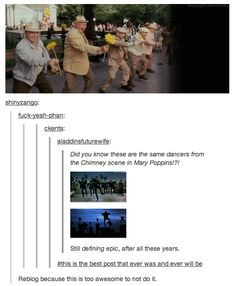 THIS MAKES ME SO HAPPY! NO WAY. The old men in the park during Enchanted are the chimney sweeps from way back when in Mary Poppins. | is this true?