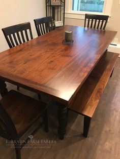 Custom Farmhouse Table Gorgeous Black Walnut Table Top And Bench Seat Painted Pine Base And Legs Cab Wood Dining Room Table Walnut Table Black Walnut Table