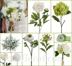 Cream/Green Peony, White Roses or Carnations & Ranunculus, Lime Green Hydrangea and Sedum & Dusty Miller Greenery.