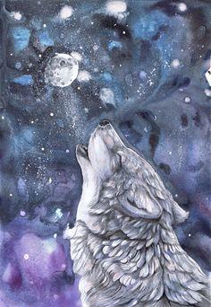 Alone Wolf Moon by dawndelver on @DeviantArt