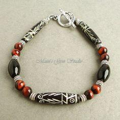 Mens Tribal Bracelet with Carved Bone Black Onyx by mamisgemstudio, $24.95