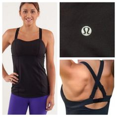 Lululemon Run: Catch Me tank Black. Excellent condition. Medium support customizable running tank with built in bra. Customize fit with the adjustable shoulder straps and padded hook and eye bra closure. Does not include cup inserts. 3/4 sticky hem. Power Luxtreme. No trades. No PayPal. lululemon athletica Tops Tank Tops