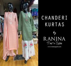 Product on the left: Chanderi kurta and dupatta with white gota embroidery paired with 80 GMs crepe silk stretch chudidar. Product on the right: Green chanderi kurta with patti embroidered work paired with a cotton printed kaliwala pallazo. (Design & Creation by RANJNA) _ For orders, appointments, online measurements or general enquiries please call Mr. Shishir Gupta - 77 22 000 459. Designer Clothing, Appointments, Kimono Top, Pairs, Embroidery, Silk, Printed, Green, Cotton