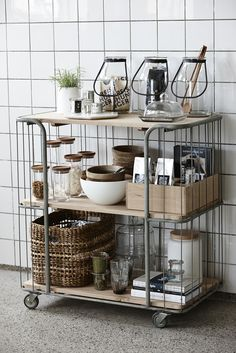 Clever Open Kitchen Storage Ideas Design your small kitchen with smart and stylish decorating ideas from using pegboards for storage to repurposing ladders to hold pots and pans, and more! Apartment Kitchen Organization, Kitchen Storage, Kitchen Styling, Organization Hacks, Kitchen Rack, Kitchen Interior, Kitchen Design, Kitchen Trolley, Sweet Home