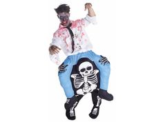 New 2017. Go to the party in this skeleton piggyback costume and you will have everyone laughing to death. This clever costume is comfortable and easy to wear. You can put the piggyback costume on top of what you're already wearing and then simply stuff the legs with crumpled newspaper, plastic bags, bubble wrap, or old clothing. The piggyback illusion is brilliant and will have everyone mystified and laughing! Add your own zombie makeup to complete the undead duo. Available in: one size…