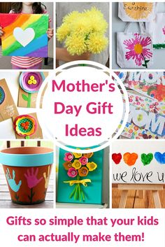 that YOUR kids can ACTUALLY make! Mother's Day Gift Ideas for Kids - these are DIY crafts that your kids can actually do! If you appreciate arts and crafts you actually will appreciate this website! Diy Mothers Day Gifts, Parent Gifts, Gifts For Kids, Mother's Day Projects, Crafty Projects, Easy Projects, Craft Gifts, Diy Gifts, Cadeau Parents