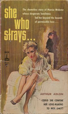 """The cover artwork by Ernest """"Darcy"""" Chiriaka for the lesbian-themed novel """"She Who Strays"""" Book Cover Art, Cover Pages, Pulp Fiction Book, Fiction Novels, Pulp Magazine, Vintage Book Covers, Up Book, Book Jacket, Pulp Art"""
