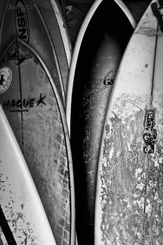 Surfboard Stack by Byron O'Neal, via Flickr  Black and white prints blown up