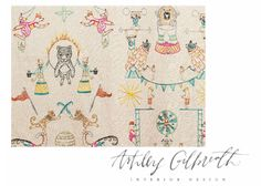 """AGID Pin of the Day: We are obsessed with this fabric, """"Circus Toile"""" by POLLACK... it would be the perfect for any children's room.. call us to order... 334.262.3231!!!"""